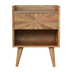 Mid Century Sunburst Inlay Bedside Table Natural Wood Tone
