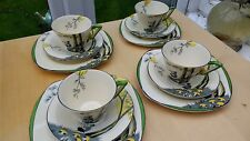 FOUR Burleigh Ware / Zenith Pan Trio s : Art Deco cups saucers side plates 1930s