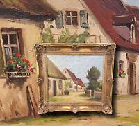 Fränkische Dorfidylle. Orig. altes Ölgemälde, Rothenburger Maler LUDWIG MÖSSLER