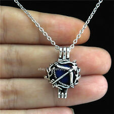 STV45 Antique Pearl Bead Cage Men Tools Arrow Locket Necklace Stainless Chain