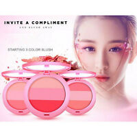 Natural 3 Colors Makeup Blush Palette Concealer Cheek Blusher Powder Cosmetics