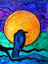 ALASKA Raven Full Moon WHIMSICAL Alaskan Orig Design 7.5 x 10 Metal Art Print