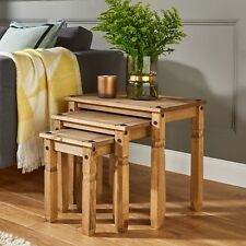 Rustic Pine Nest of Tables Solid Wood Side Coffee Table Home Decor Living Room