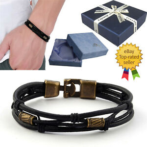 Mens Women Ladies Surfer Leather Cord Bracelet Wristband with Gift Box #37 NEW