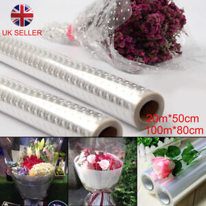 Three sizes Plain Clear Florist Craft Cellophane Roll Film Dot Gift Wrap Hamper