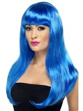 Blue Babelicious Wig Long Straight Adult Womens Smiffys Fancy Dress Costume
