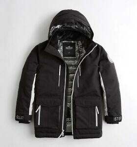 New Men's Hollister Down Ski Jacket Coat Wind Water Resistant M L £200 Black