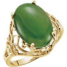 14K Yellow Gold Nephrite Jade Openwork Ring