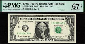 2013 $1 Richmond Federal Reserve FRN 3001-E PMG 67 EPQ • E-B Block TOP POP 2/0