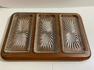 Vintage Wood Glass Serving Dish Relish Pickle Cheese Charcuterie Plate Platter