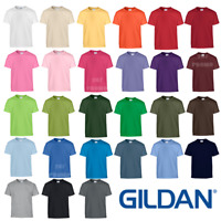 GILDAN KIDS T-SHIRT HEAVY COTTON PLAIN BOYS GIRLS SUMMER TOP CREW NECK COLOURS