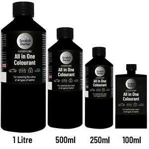 ALL IN ONE BLACK Leather Colourant. Repair & Recolour. Dye Stain Paint Colour