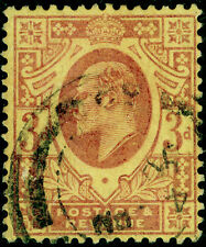 SG233, 3d dull reddish purple/yellow (lemon back), USED. Cat £80. (C)