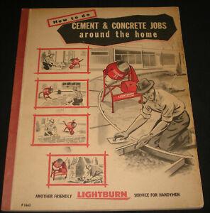 1950s LIGHTBURN CEMENT & CONCRETE  MANUAL  CEMENT MIXER CATALOG