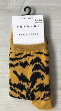 Ladies/Girls Mustard Yellow Animal Print Patterned Cotton Ankle Socks