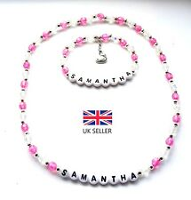 PERSONALISED HOT PINK NEW BABY KITTY NECKLACE & BRACELET SET BIRTHDAY - ANY NAME