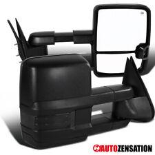 For 2003-2007 Silverado Sierra Black Power Heated Tow Mirrors+Smoke LED Signal