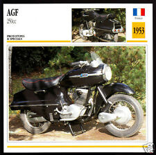 1953 AGF 250cc A.G.F. France Motorcycle Photo Spec Sheet Info Stat Atlas Card