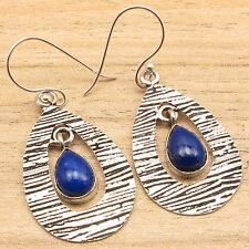 Original LAPIS LAZULI Stone DROP Earrings Manufacturer, 925 Silver Plated Items