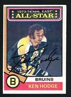 Ken Hodge signed autograph auto 1974-75 Topps Hockey Trading Card