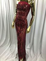 Burgundy Fancy Fashion Design Sequins On Mesh 4 Way Stretch Sequins Fabric 1yard