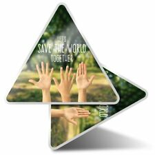 2 x Triangle Stickers 10 cm - Save The World Together Earth Green  #24153