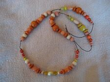 Necklace: orange + yellow wood beads, handmade only one made!