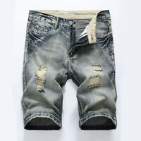 Mens Ripped Skinny Jeans Destroyed Short Pants Casual Denim Shorts Trousers New