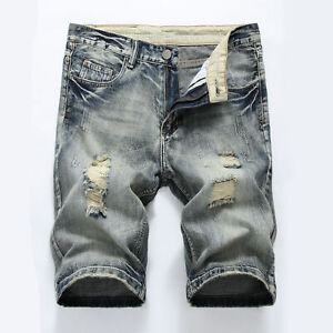 New Mens Denim Shorts Trousers Ripped Skinny Jeans Destroyed Short Pants Casual