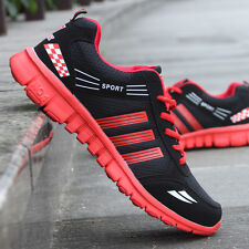 Red Men Running Shoes Outdoor Casual Breathable Sport Trainers Sneakers US7.5
