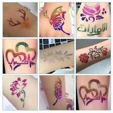 Temporäre Körperkunst Schimmer Glitzer Pulver Tattoo Schablonen Pinsel Kleb N1C6