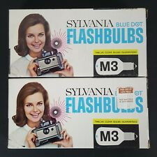 Vtg Sylvania Blue Dot Clear Camera Flash Bulbs M3 Lot of 2 Boxes of 12 Each NOS
