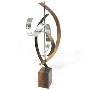 Black Walnut Modern Wood Sculpture Mid-Century Home Decor Contemporary Wooden Ar