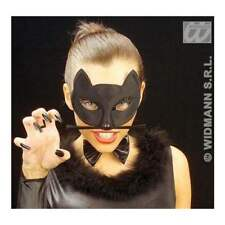 BLACK CAT MASK WITH BLACK WHISKERS CATWOMAN FELIX SYLVESTER ADULTS OR CHILDREN