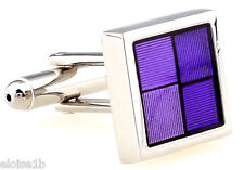 BRILLIANT SILVER PURPLE SQUARES CUFFLINKS WITH VELVET POUCH BOW TIE HEAVEN