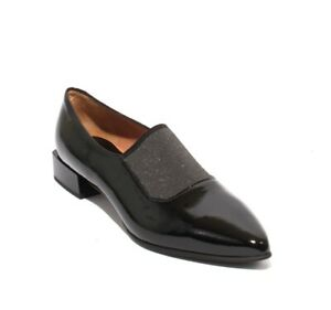 MOT-CLe 1569a Black Silver Patent Leather Elastic Pointy Toe Shoes 39.5 / US 9.5