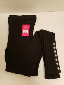 Candies Black Sweater Material Leggings 7 Ankle Snaps Size Small NEW