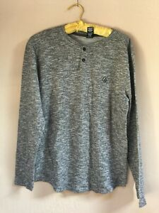 Volcom Womens Long Sleeve Henley Sweater Popover Pullover Gray Size Small Petite