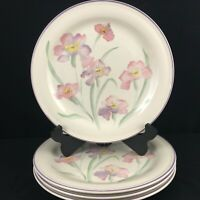 Set of 4 VTG Dinner Plates by Sango Windsor Sangostone Pink Floral 3647 Korea