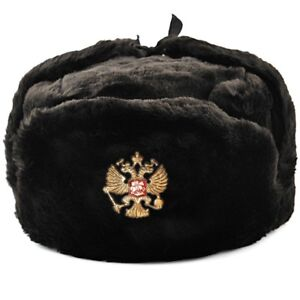 Ushanka Russian Hat Black Made Russia Faux Fur Ушанка Ear Flap Mens Winter Hat