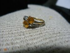 10 YELLOW GOLD SMALL SIZE 6 RING WITH 2 NICE ROUND CITRINE & DIAMONDS SPARKLECC1