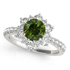 Green Round SI2 Diamond Solitaire & White Halo Wedding Ring 1.17 Carat 14k White