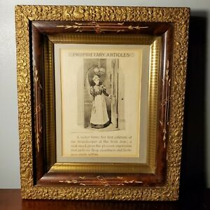 Antique 1894 Housekeeper Print in Wood Gold Gilt Floral Picture Frame 10 x 8