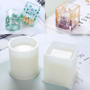 DIY Crafts Storage Holder Square Round Silicone Mold Pen Container Resin Mould