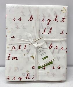 Pottery Barn Organic All Is Calm Christmas Holiday Sheet Set~TWIN~TWIN XL~Red