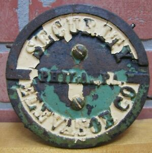 SECURITY ELEVATOR PHILA PA Old Cast Iron Plaque Sign Architectural Hardware Ad