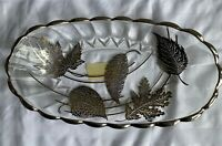 Vintage New Martinsville Janice SILVER OVERLAY Dish with Beautiful Leaf Design