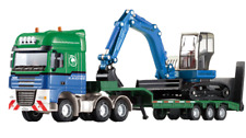 Boy's 1:50 Scale Cool Giant Platform Lorry Truck Attached Excavator Model Toy