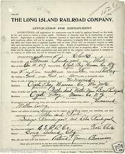 Long Island Rail Road APPLICATION for LIRR EMPLOYMENT of THOMAS PRENDERGAST 1905