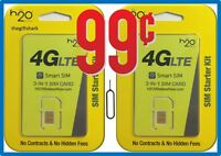 2 H2O WIRELESS 3-in-1 SIM cards Regular, Micro, Nano. AT&T & UNLOCKED PHONES h20